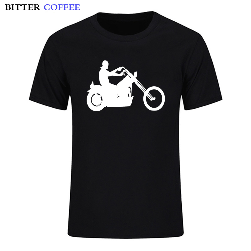 BITTER COFFEE Fashion Handsome Man Motorcycle Male Plus Size Mens T-shirt 100% Cotton Tshirt Apparel Plus Size