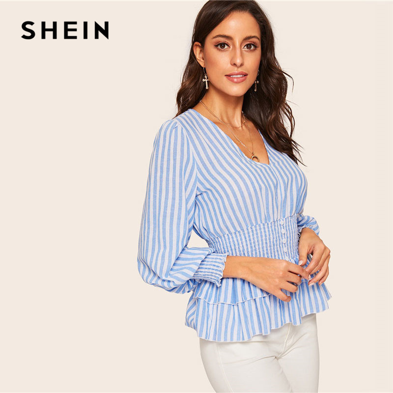 9cfb692fdcca9 SHEIN Spring Blue Bishop Sleeve Shirred Cuff Striped Peplum Blouse Women  Casual Cotton V Neck Long Sleeve Top Ladies Blouses