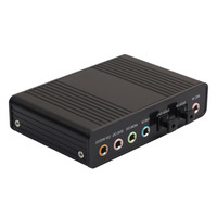 Black Professional USB Sound Card 6 Channel 5 1 External Optical Audio Sound Card For Notebook