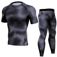 Summer Men Compression Sets Snake scale Short Sleeve T Shirts 3D Print Joggers Tights Tops Leggings Fitness Brand Clothing