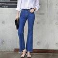 Vintage High Waist Elastic Bell Bottom Jeans 2016 Women Ankle-Length Denim Flare Pants Korean Style Plus Size Wide Leg Trousers