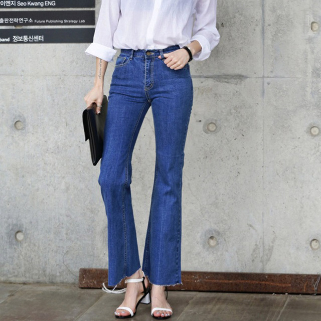 Aliexpress.com : Buy Vintage High Waist Elastic Bell Bottom Jeans ...