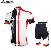 ARSUXEO Summer Men Cycling Sets Quick Dry Anti-sweat Short Sleeve Bike Bicycle Jersey For MTB Road Mountain