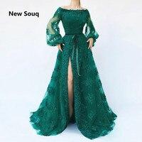 Элегантный зеленый тюль сбоку вечерние платья с разрезом с плеча одежда длинным рукавом Аппликация бисерные Вечерние платья Арабский плат