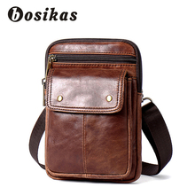 BOSIKAS Genuine Leather Waist Bag Men Vintage Bags Phone Case Cover Travel Belt Pack Fanny Pouch