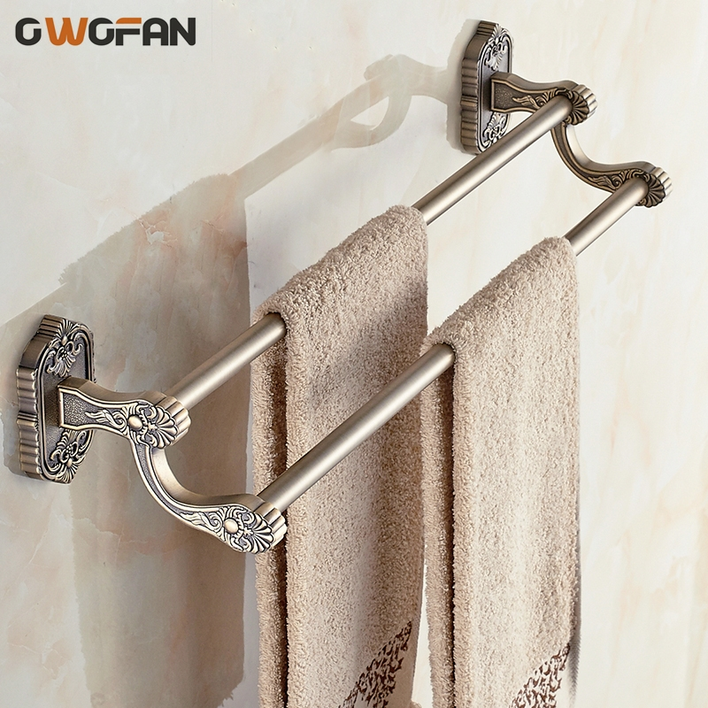 Antique Brass Towel Bars Wall Mounted Double Towel Bars Bathroom Accessories Towel Rack Home Decoration Hardware Shelf 3311 towel bars wall mounted modern antique brass towel rack holder dual levers crystal flower carved base bathroom accessories 6202
