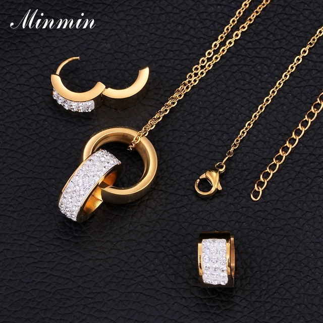Minmin 316L Stainless Steel Jewelry Sets for Women Gold Plated Crystal Pendant Necklace Earrings African Beads Jewelry Set TL326