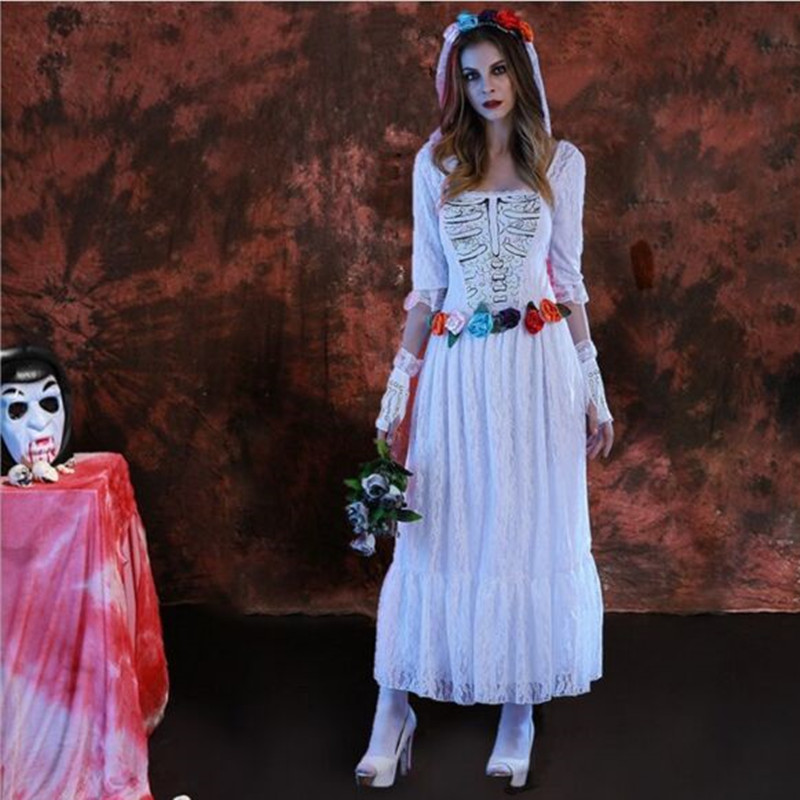 White Zombie Costume For Women White Skull Dress Carnival