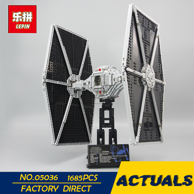 LEPIN 05036 1685pcs Star Series Wars Tie Toys Fighter Building Educational Blocks Bricks Compatible with 75095 Children boy Gift lepin tie fighter 05036 1685pcs star series wars building bricks educational blocks toys for children gift compatible with 75095