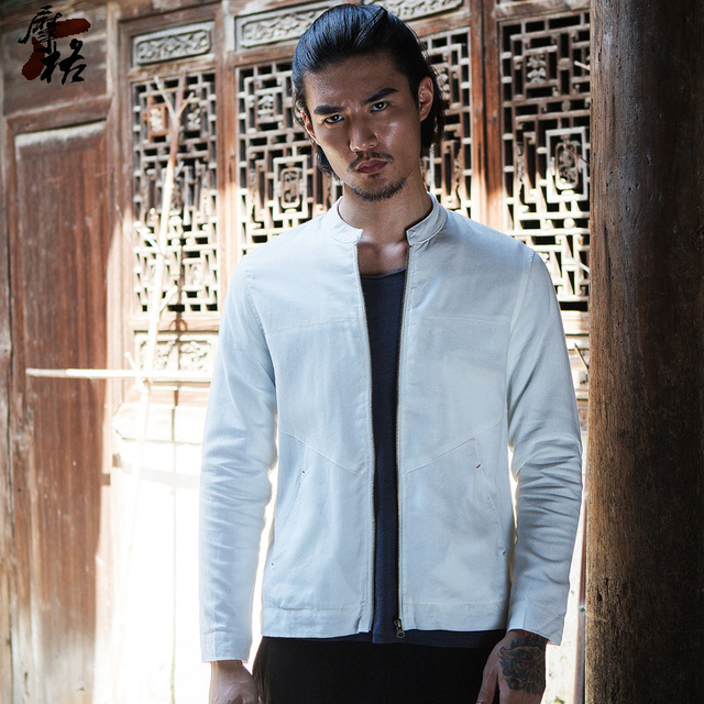 009f78073a3 Men s stand collar slim fit linen cotton jacket white dark blue summer  casual jacket men zipper thin jacket for men 2018 new