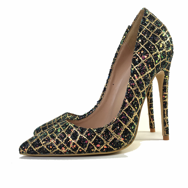627c41046c7 US $50.0 50% OFF|Kellyjimmy Fashion Shoes Womens 2018 Glitter Sequins High  Heels Pointy Toe Evening Party Dress Shoes Pumps-in Women's Pumps from ...