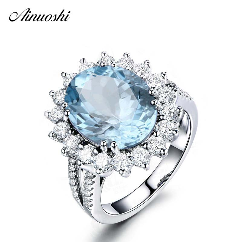 AINUOSHI 5 Carat Oval Cut Big Natural Topaz Halo Ring 8 Prongs 925 Silver Sky Blue Topaz Ring Generous Engagement Wedding RingAINUOSHI 5 Carat Oval Cut Big Natural Topaz Halo Ring 8 Prongs 925 Silver Sky Blue Topaz Ring Generous Engagement Wedding Ring