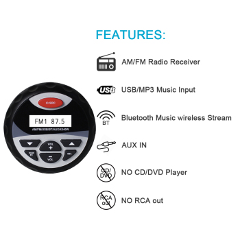 Car Radio Bluetooth MP3 Player Waterproof Marine Audio Stereo+2 Way Motorcycle Boat Compact Speakers+ Fm AM Radio Black Antenna