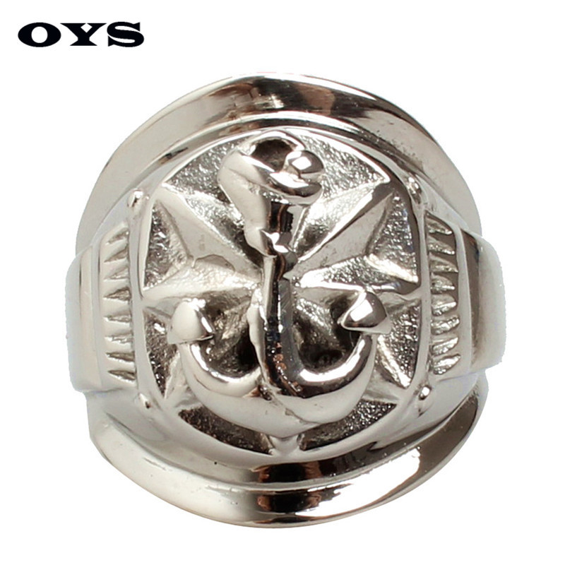 Men's Stainless Steel Army Ring 316L Stainless Steel Boat Anchor Navy Big Band Ring Hip Hop Punk Heavy Ring Size 7-12