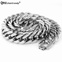 Hip Hop Mens Stainless Steel Exaggerated Cuban Cubra Polishing Silver Chain Necklace Rapper Chunky Top Quality