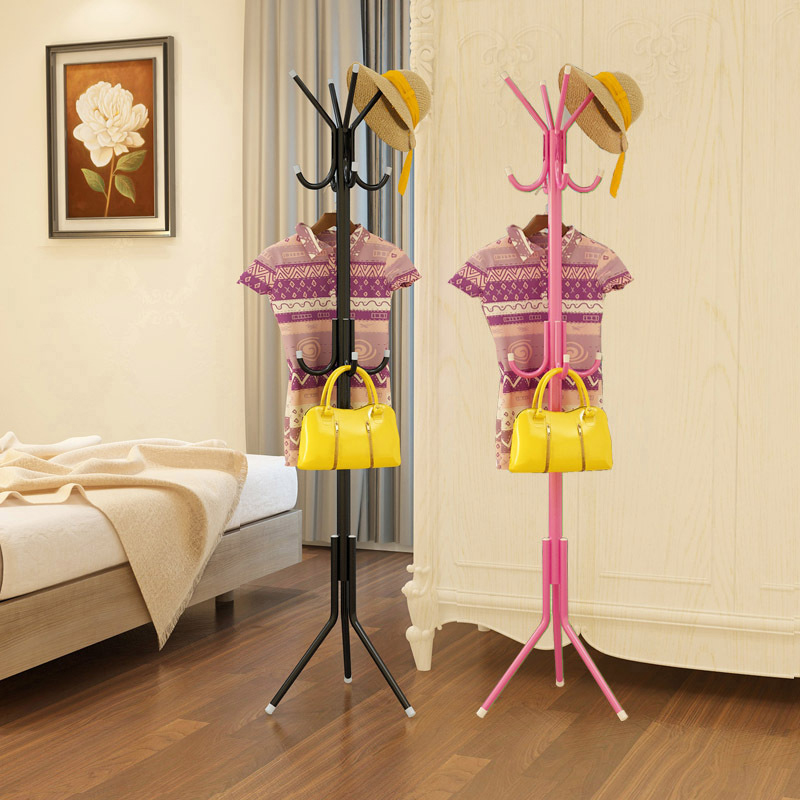 Bold Thick Carbon Steel Clothing Rack Clothes Storage with 12 Hooks Living Room Bedroom Coat Hat Hanger Shelves