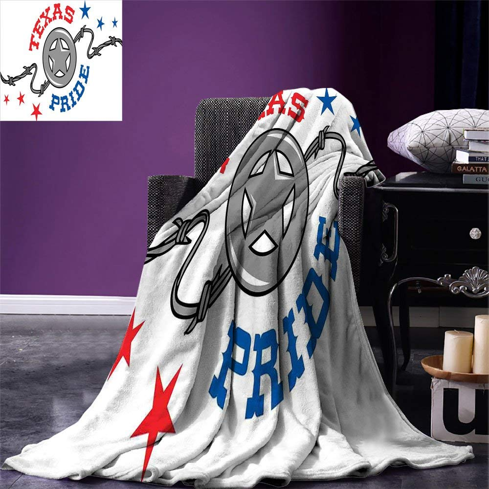 Texas Star Throw Blanket Lone Star and Barb Wire United States of America South Motif Warm Microfiber