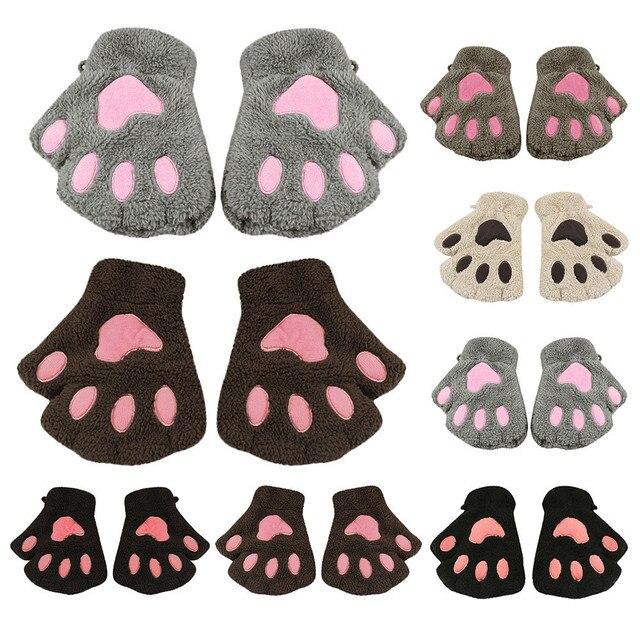 brixini.com - Fingerless Cat Paw Plush Gloves