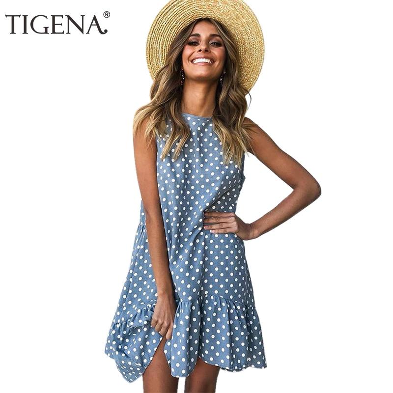 TIGENA Plus Size Loose Polka Dot Summer Dress Women 2019 Sleeveless Mini Short Beach Holiday Dress and Sundress Female Blue Pink polka dot