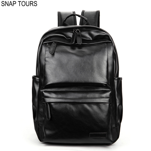 92458ff6ed25 SNAP TOURS 2019 Notebook Pu Leather Backpack Men Fashion Black Male  Backpacks For Travel Man Trip Laptop Bagpack