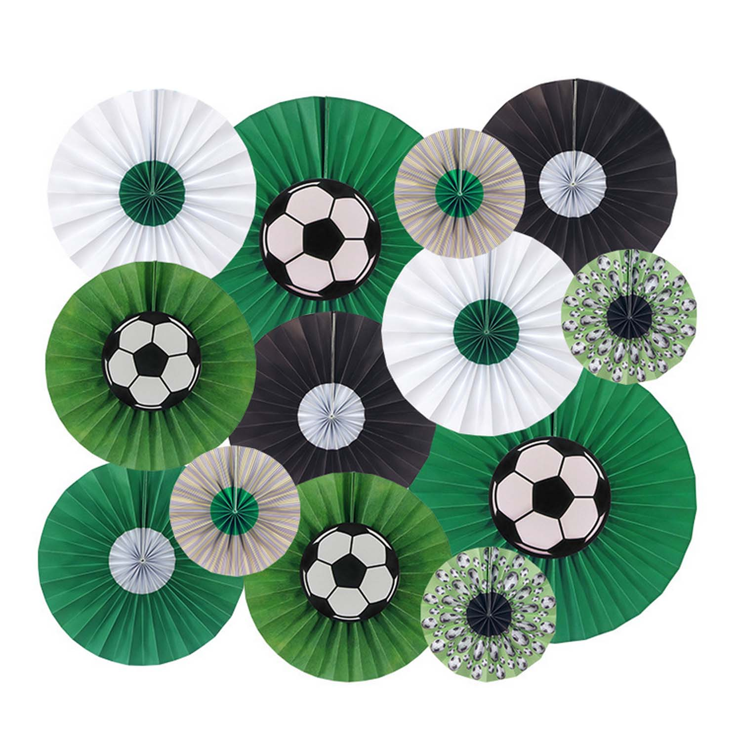 13pcs Soccer Theme Birthday Party Decoration Kit Round Green White Black Football Hanging Paper Flower Fan Origami Set