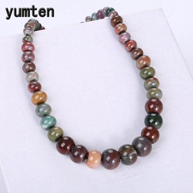Yumten epidot kobiety duży naszyjnik hurtownie mężczyźni Kettingen moda Reiki Healing naturalny kryształ korale wspaniała biżuteria prezent