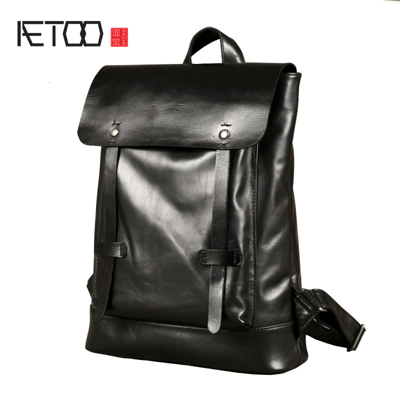AETOO New leather shoulder bag men backpack head layer of leather Japan and South Korea simple college wind leisure trend of com aetoo summer new shoulder bag women japan and south korea version of the pu backpack female tide fashion simple casual mini bag