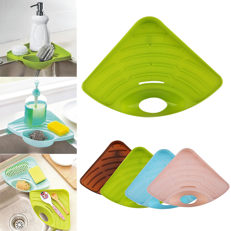 Multifunctional Draining Rack Triangular Sink Corner Sponge Storage Shelf For Kitchen CLH@8