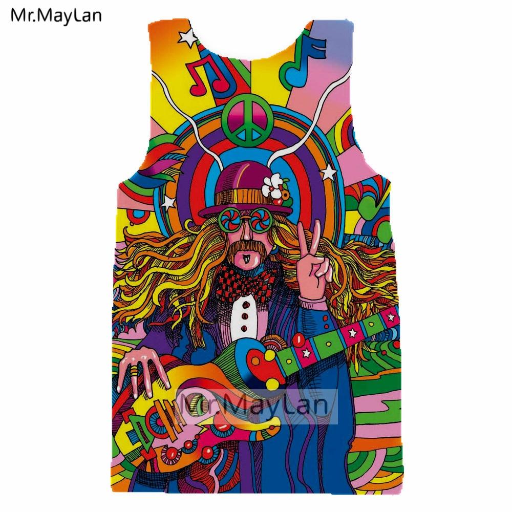 Groovy хиппи музыкант красочные Радуга гитары 3D печатных для мужчин Hipster обшитые мужские шорты бермуды Casaul пляжные шорты