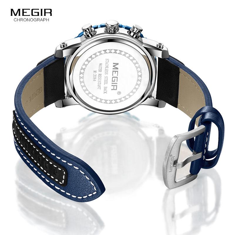 Ure mænd MEGIR mænd kronograf kvarts ure ægte læder armé - Mænds ure - Foto 6