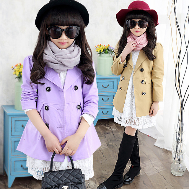 81a78ec02cc children girls jacket 2016 new spring long sleeve turn-down collar double  breasted medium long design girl outerwear trench coat