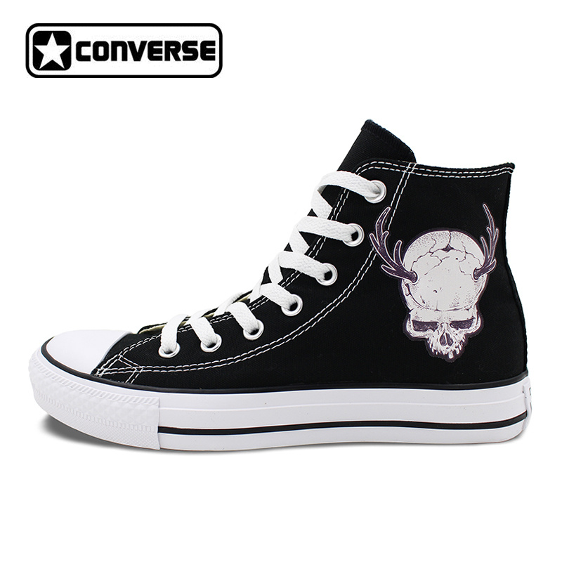 Converse All Star Black Shoes for Men Women Design Skull Horn Animal High Top Canvas Sneakers Flats Lace Up for Gifts converse all star high top shoes for men women dreamcatcher design flats lace up canvas sneakers for gifts