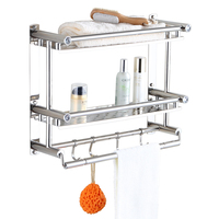 Punch free bathroom towel rack stainless steel bathroom hardware bathroom accessories towel rack 3 double shelves LO417539
