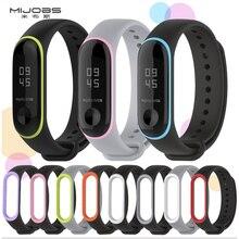 Duplo colorido mi 3 pulseira pulsera ajustável silicone pulseira de pulso substituição para xiaomi mi 3 inteligente pulseiras smartband