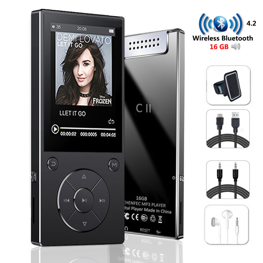 MP3 Player with Bluetooth Speaker touch button slim metal hifi music player with fm radio eBook
