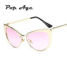 Pop Hotselling Edad Media Frame Cat Eye Sunglasses Mujeres de Lujo Diseñador de la marca Transparente Rosa Azul Amarillo Gafas de Sol Gafas De Sol