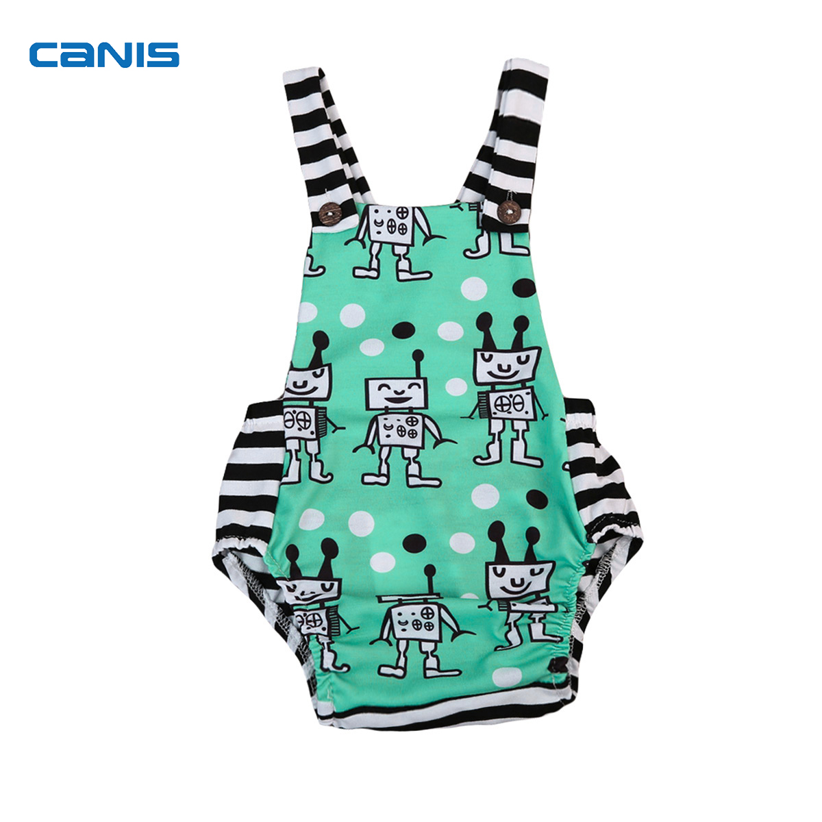 CANIS Baby Summer Clothing Newborn Toddler Baby Boy Girl Rompe Robot Striped Cartoons Romper Jumpsuit Playsuit Clothes Outfits