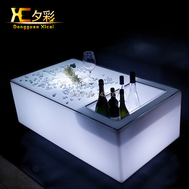Plastic LED Bar Table Glowing Coffee Tables Living Room Decorative Furniture Garden End Table