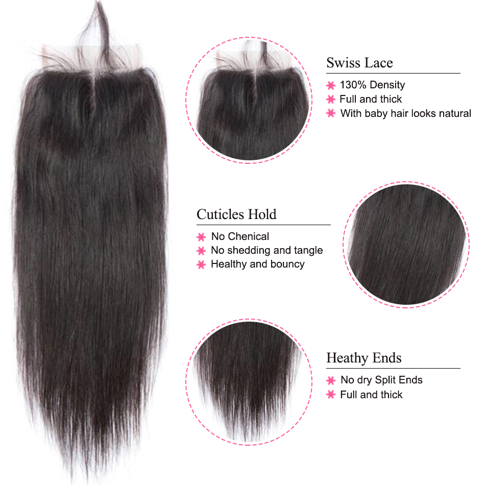 Peruvian Straight Hair With Lace Closure Free Part 4 PCS Human Hair Bundles With Closure Mshere Hair Non Remy Hair Extensions 1B
