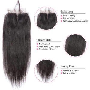 Image 4 - Peruvian Straight Hair With Lace Closure Free Part 4PCS Human Hair Bundles With Closure Mshere Hair Non Remy Hair Extensions 1B