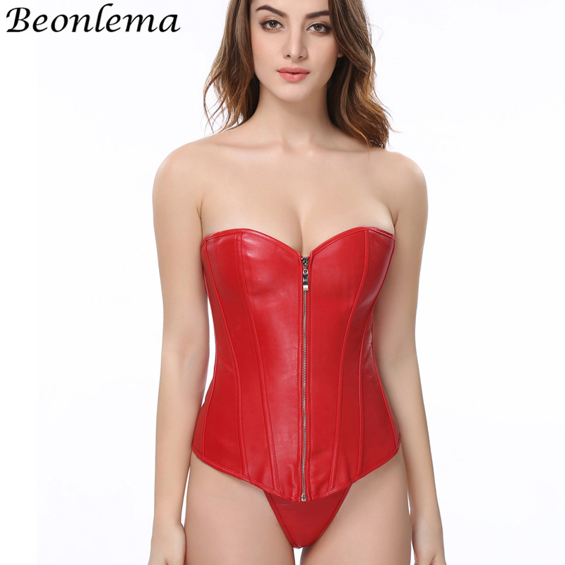Beonlema Women Leather   Bustier     Corsets   Zipper Sexy Waist Binder Steampunk Overbust Basque PVC Corselet 6XL Korset Plus Size