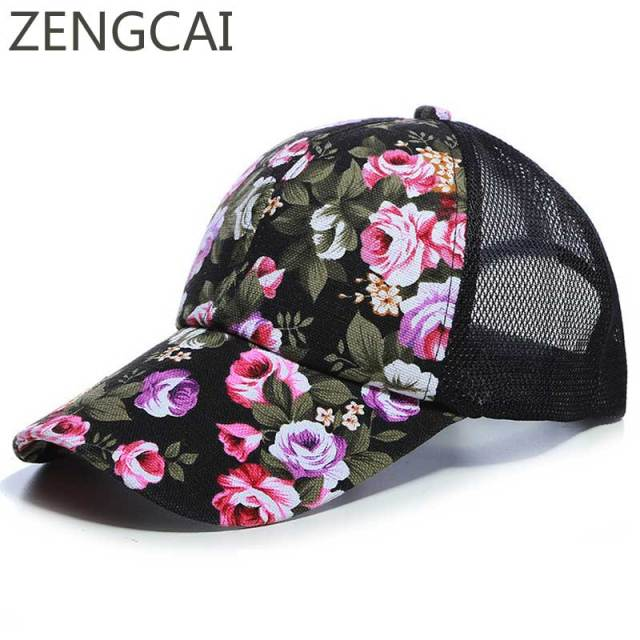ae78ebade35 Summer Mesh Trucker Hat Women Floral Baseball Cap Snapback Printed Sun Hats  Hip Hop Girls Hat Fashion Cotton Outdoor Sports Caps