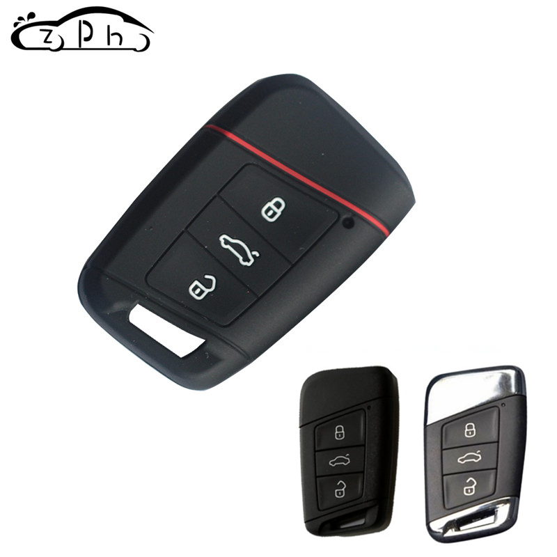 3 Buttons Silicone Car Key Case For  VW Skoda Superb Magotan Passat B8 A7 Golf Smart  2016 2017 Remote Protector Skin Key Cover