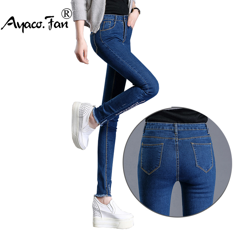 Spring Autumn 2017 Women Elastic Black Jeans Students Stretch Skinny Female Letter Slim Pencil Pants Denim Ladies Trousers jeans spring new women jeans slim elastic skinny straight trousers ladies fashion full length plus size denim casual pants
