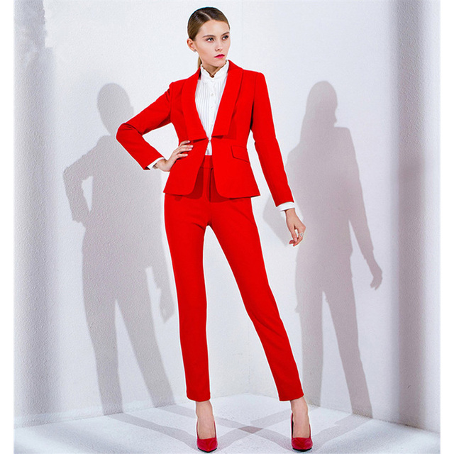 a9db497a12301 Chaqueta + Pantalones rojo mujer negocios trajes Formal Oficina trajes  trabajo ajustado mujer pantalones traje solo