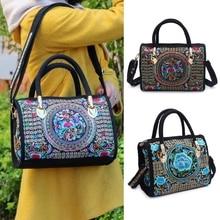 THINKTHENDO New Women Floral Embroidered Handbag Ethnic Boho Canvas Shopping Tote Zipper Bag National style Flower Print  Bag