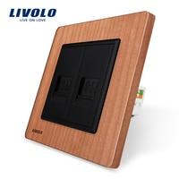 Manufacture Livolo Cherry Wood Panel 2 Gangs Computer Socket Wall Outlet Plug Socket VL C792C 21