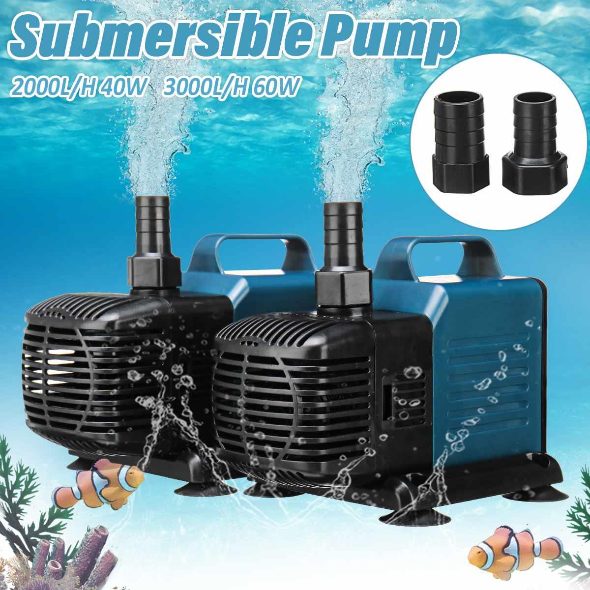 Водяной насос для аквариума 40 Вт 60 Вт, погружной водяной насос для бассейна, насосы для водопадов и фонтанов, внутренний Циркуляционный фильтр с 3 насадками Насосы      АлиЭкспресс