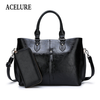 ACELURE Solid Color PU Leather Shoulder Bags For Women High Capacity Simple Style Handbags For Female All Match Crossbody Bag
