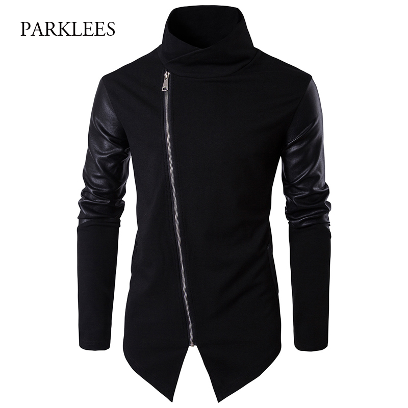 Turtleneck Sweater Men 2017 Fashion Patchwork PU Leather Sleeve Design Long Mens Cardigans Casual Slim Zipper Black Pull Homme